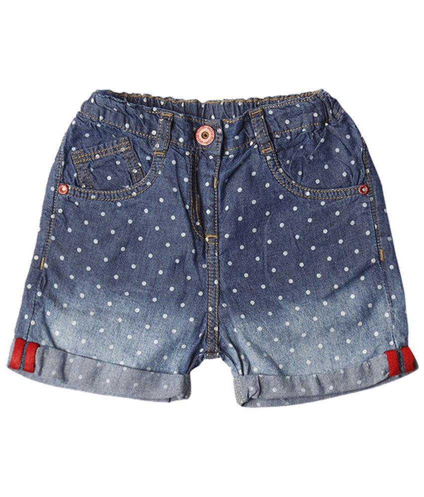 Wow Mom Blue Printed Shorts for Girls