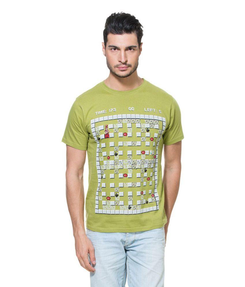 Zovi Bomberman Olive Green Graphic T-Shirt