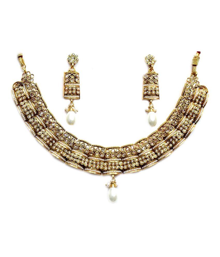 Antique Gold N Jadtar Set: Shingar Ksvk Jewels White Antique Gold Plated Polki Kundan