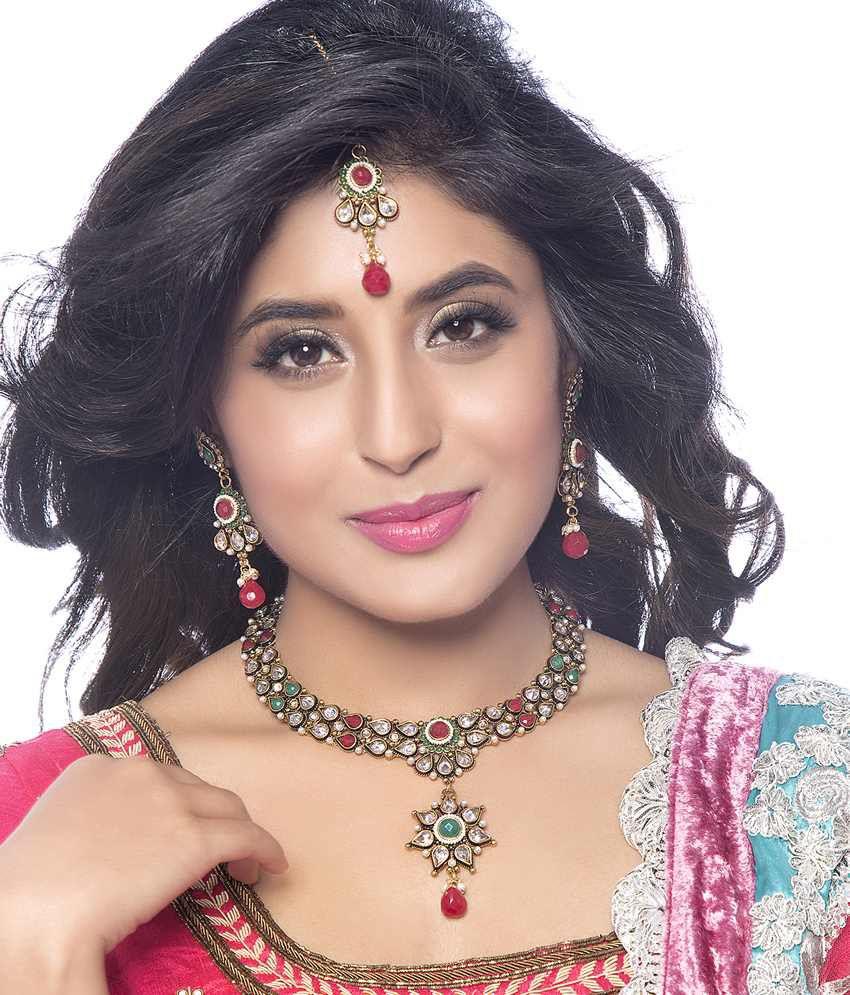 Sukkhi- Kritika Kamra Antique Finish Golden & Silver American Diamond Necklace Set With Maang Tika