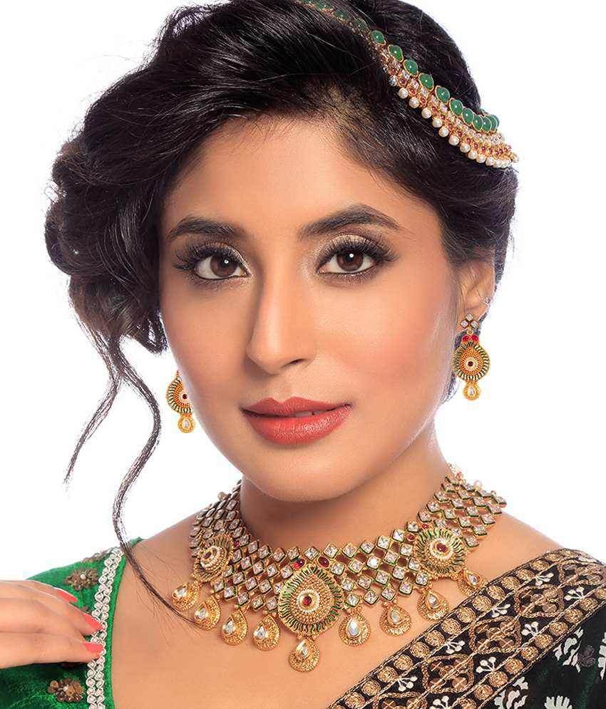 Sukkhi- Kritika Kamra Golden & White American Diamond Wedding Necklace Set With Maang Tika