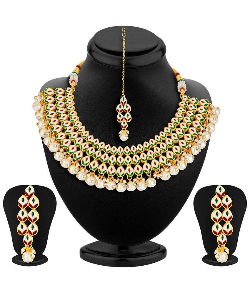 Sukkhi- Kritika Kamra Golden & White Kundan Wedding Necklace Set With Maang Tika