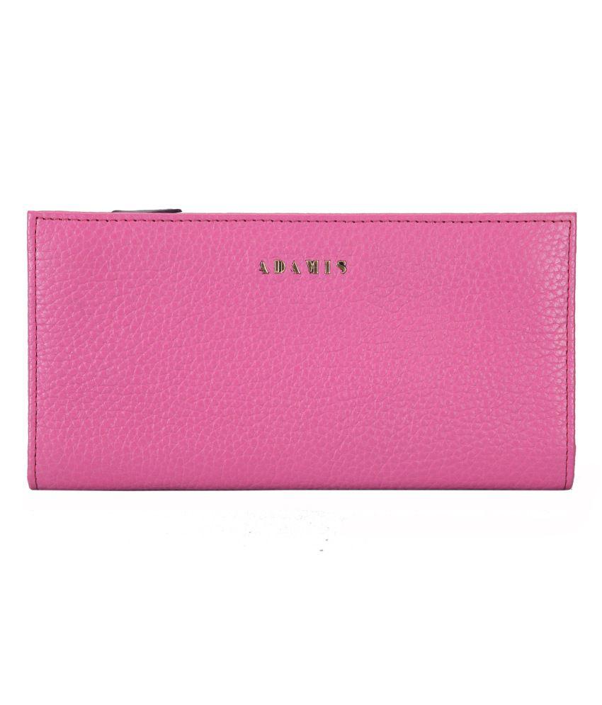 Adamis Pink Leather Formal Regular Wallet For Women