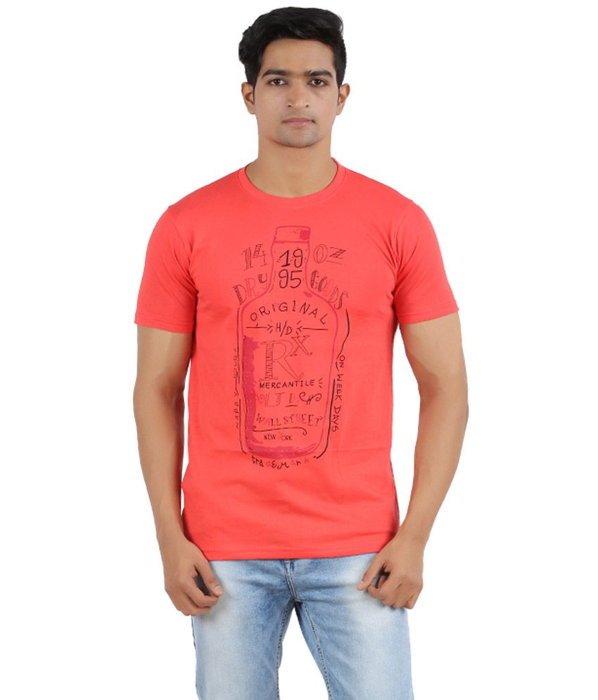 R - CROSS Red Cotton Half Sleeves Round T-Shirt