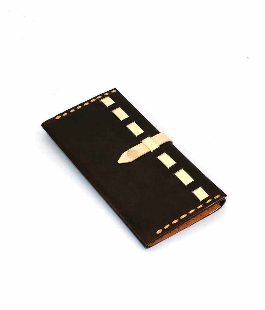 Rikt Chocolate Leather Bi-Fold Designer Long Wallet For Women