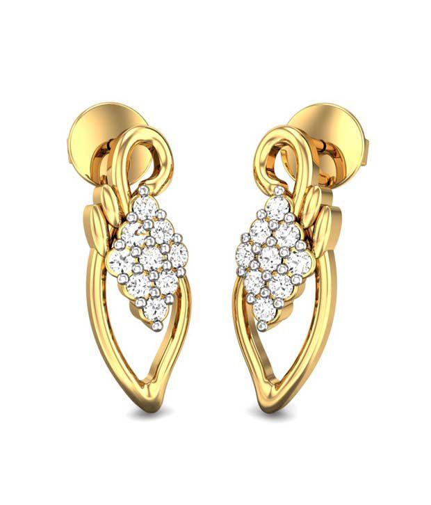 Candere Caren Diamond Earrings Yellow Gold 14K
