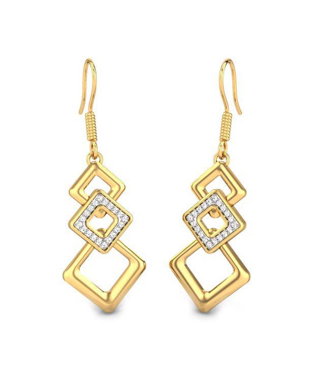 Candere Vidya Diamond Earring Yellow Gold 14K