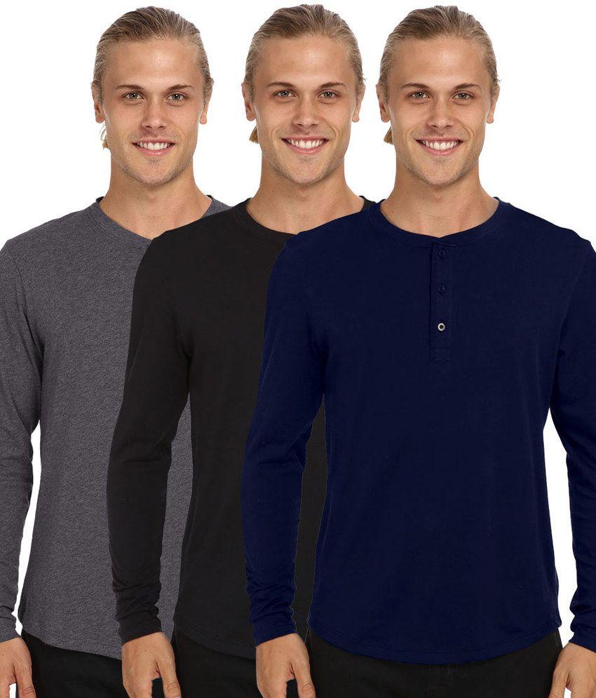 Nicewear Multicolour Cotton Henley T-Shirt - Pack of 3
