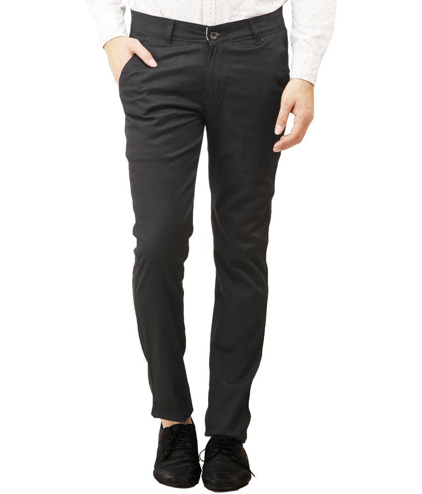 Pede Milan Black Cotton Blend Slim Fit Casual Trouser