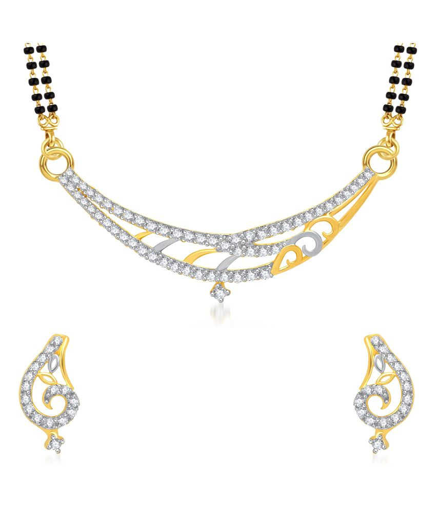 VK Jewels Simple Design Gold And Rhodium Plated Mangalsutra Pendant Set with Earrings