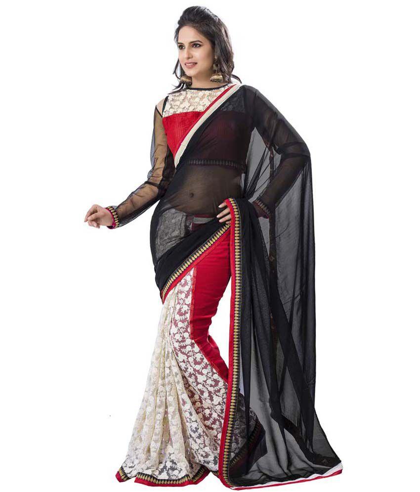 Aarnas Fashion White Net Saree