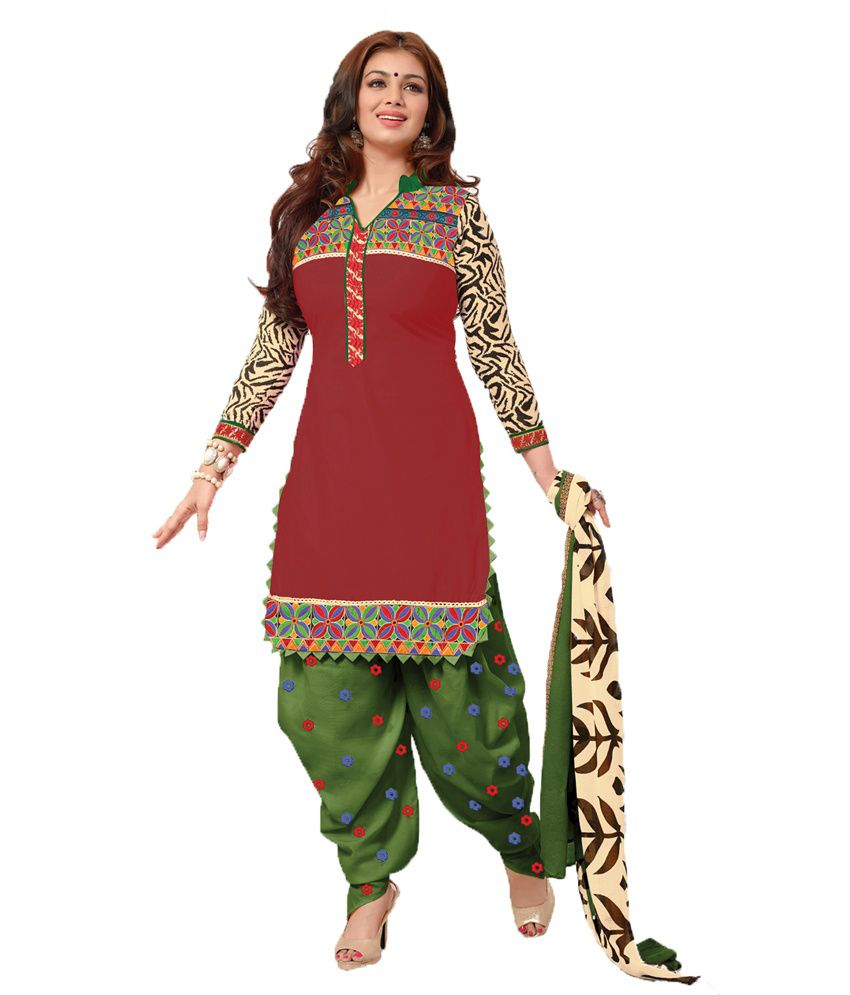 Indian Wholesale Clothing Maroon Cotton Unstitched Dress Material