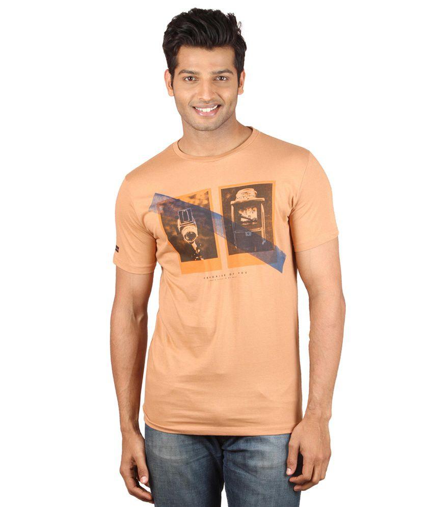 Meltin Cotton Orange Round Neck T-Shirt