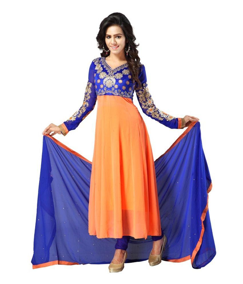 Shruti Fashion Orange Pure Georgette Stitched Suit