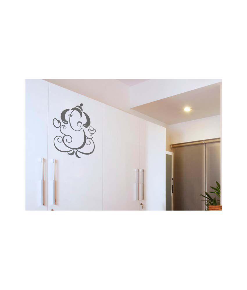 walldesign grey shining ganesha wall sticker medium