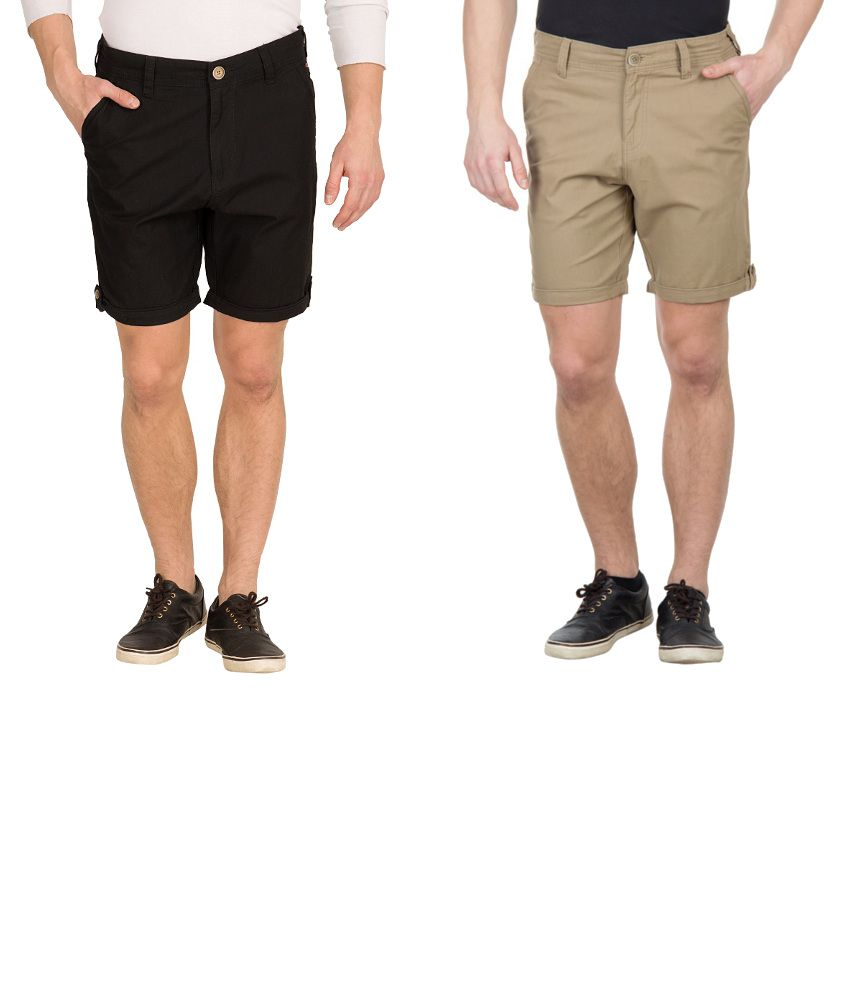 Wilkins & Tuscany Combo Of Black And Khaki Cotton Shorts