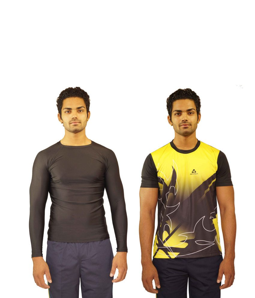 Aerotech Combo Of 2 Black and Yellow Blended Cotton T-shirts