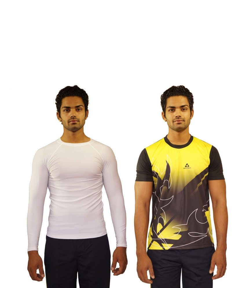 Aerotech Combo Of 2 White and Yellow Blended Cotton T-shirts