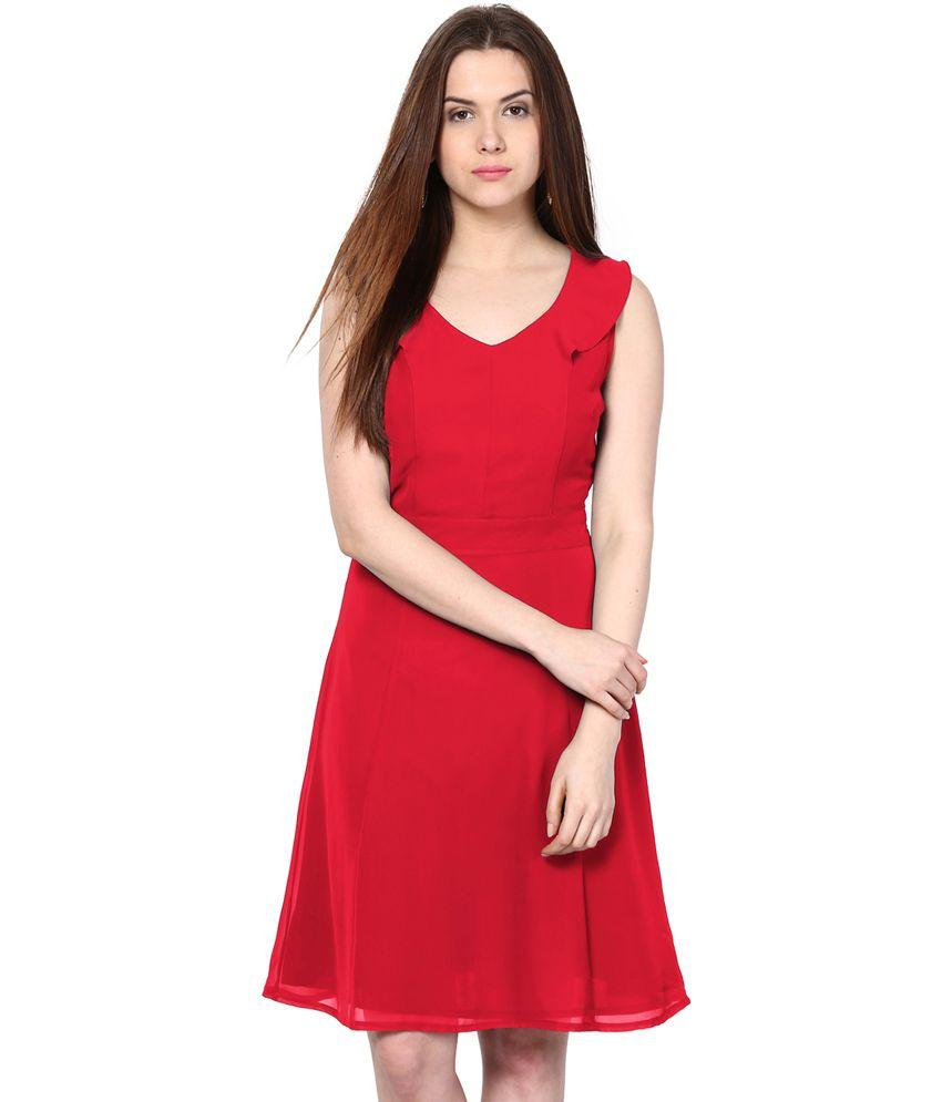 Besiva Red Polyester Dresses