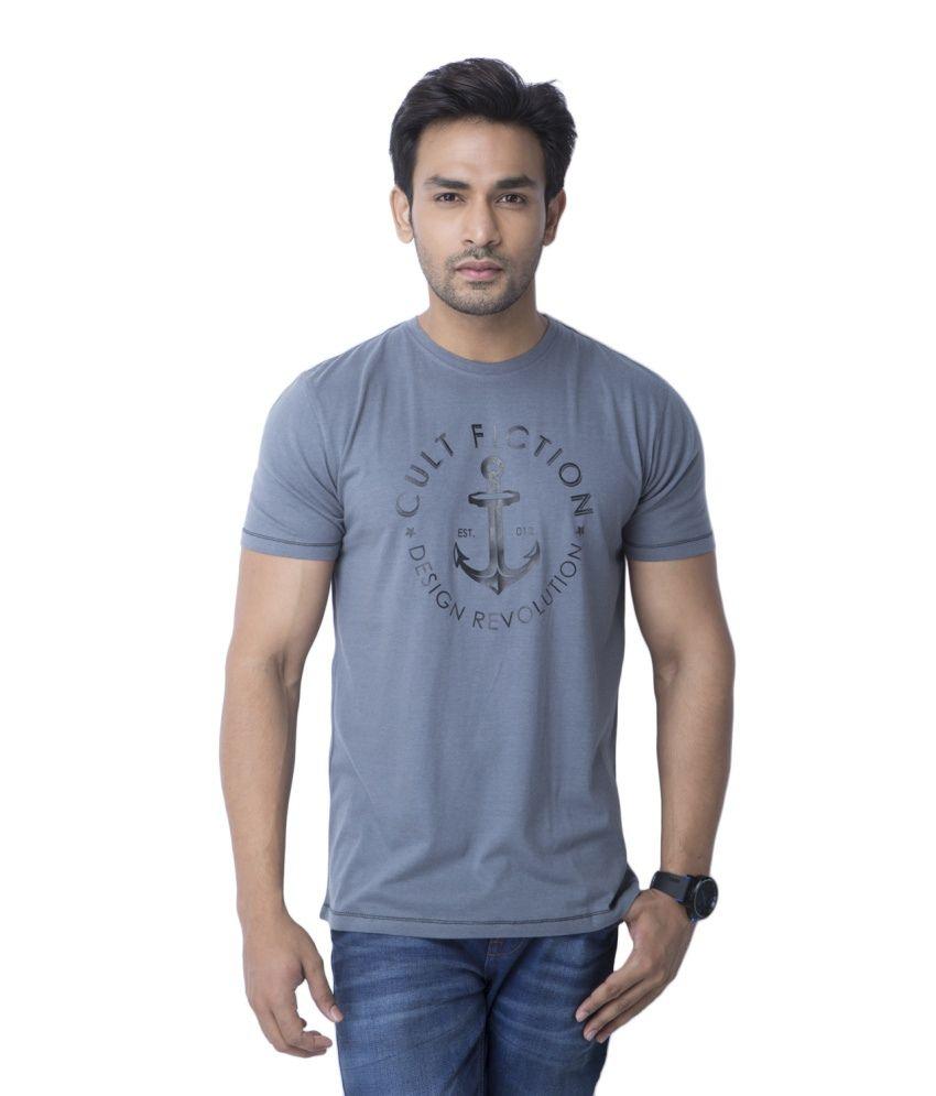 Cult Fiction Gray Cotton T Shirt For Men