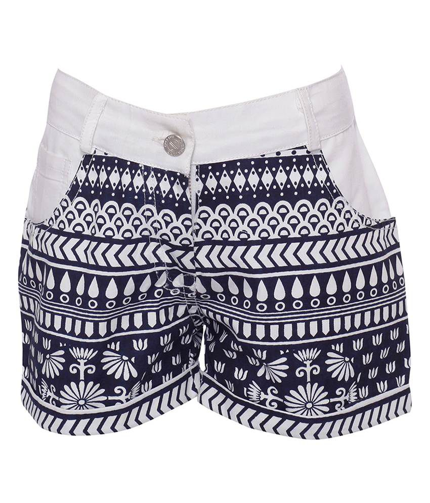 Joshua Tree Urban Traveller White and Navy Printed Shorts