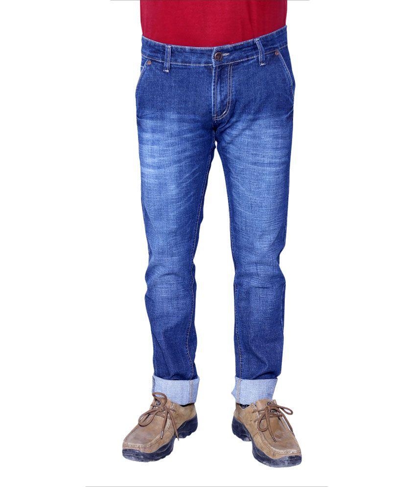 Roxon Blue Cotton Blend Faded Slim Stylish Jeans