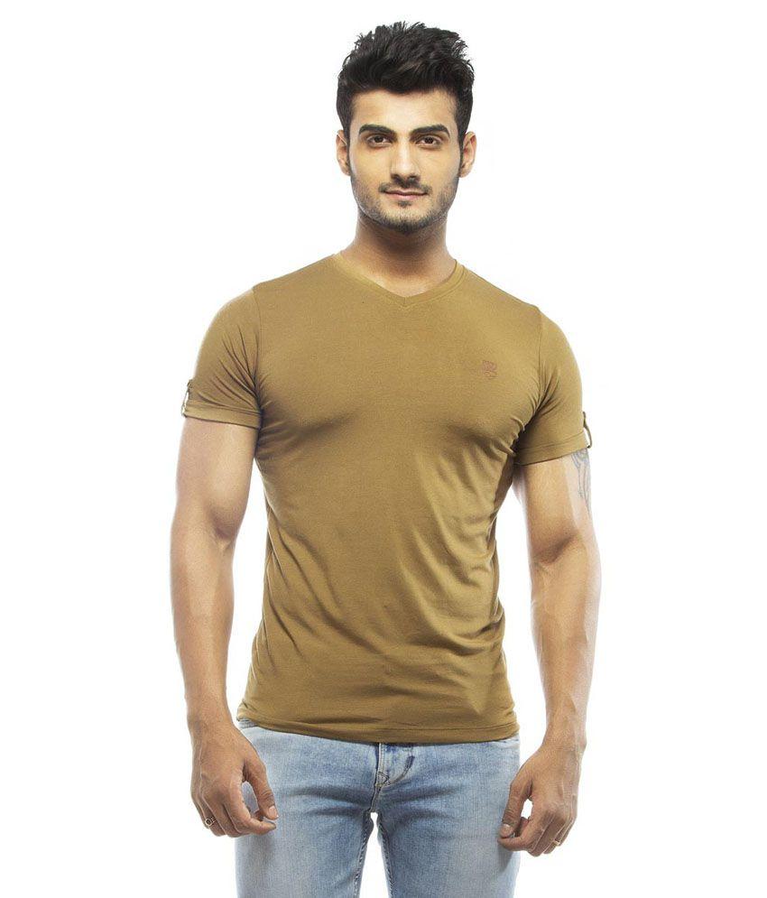 Spykar Brown Cotton V-Neck T Shirt