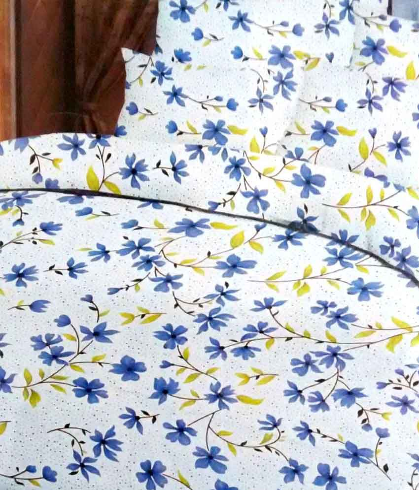 utenseal small flower sky blue base double bed sheet with. Black Bedroom Furniture Sets. Home Design Ideas