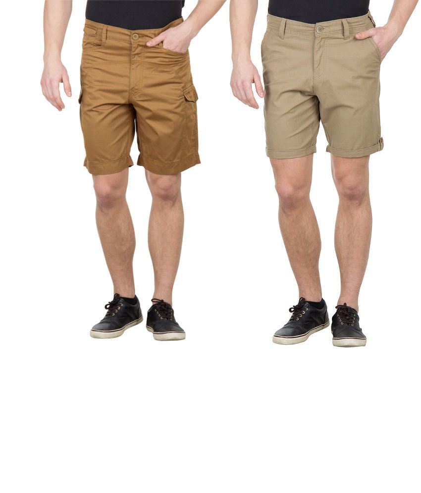 Wilkins & Tuscany Combo Of Tan And Khaki Cotton Shorts