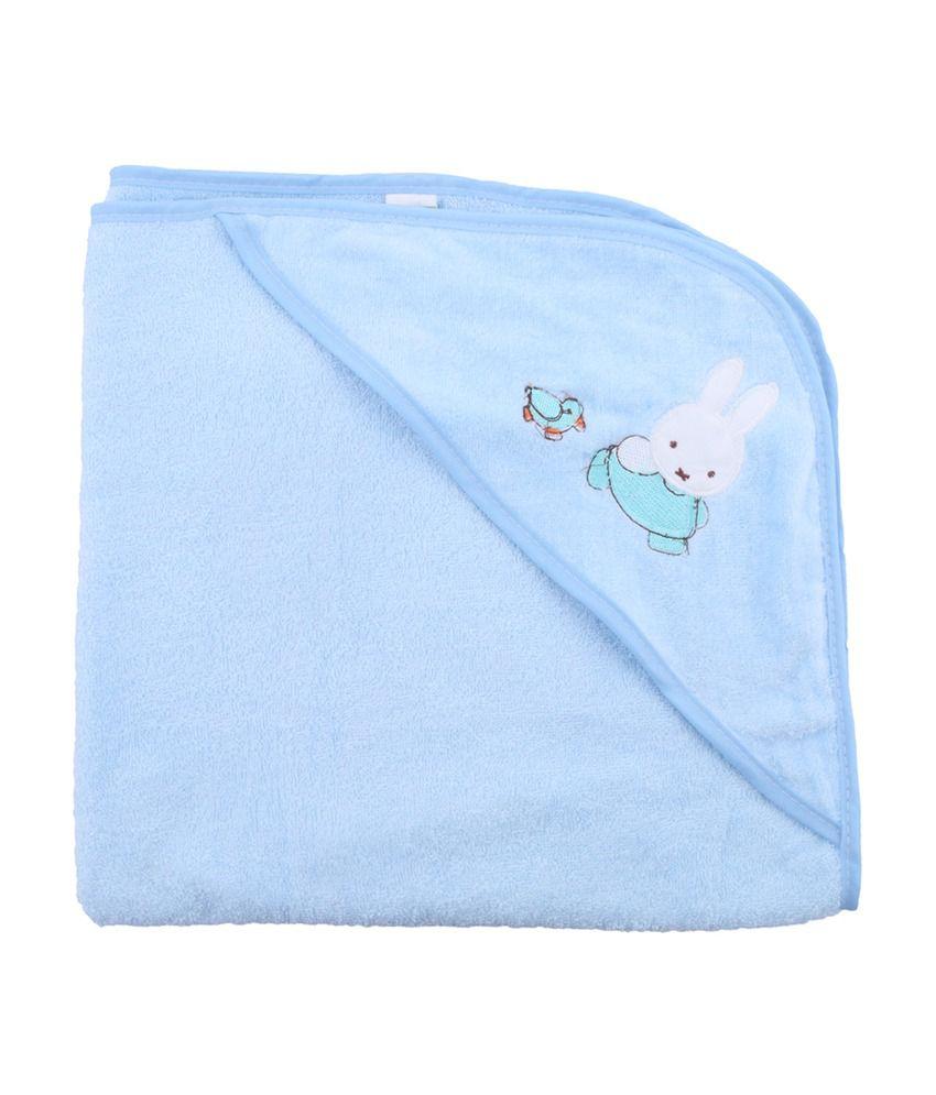 Belle Maison Blue Hooded Veloure Baby Towel (75 x 75 CM)