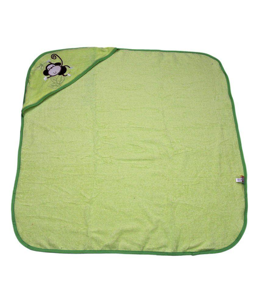 Belle Maison Green Hooded Veloure Baby Towel (75 x 75 CM)