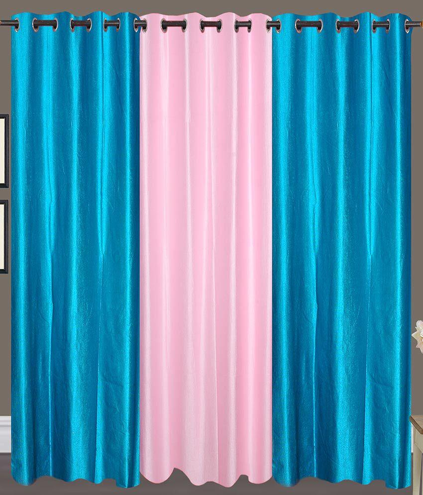 Handloom Hut Set of 3 Door Eyelet Curtains Solid Blue&Pink