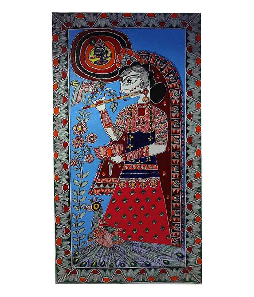 Madhubani Painting of Radha playing flute by GAC
