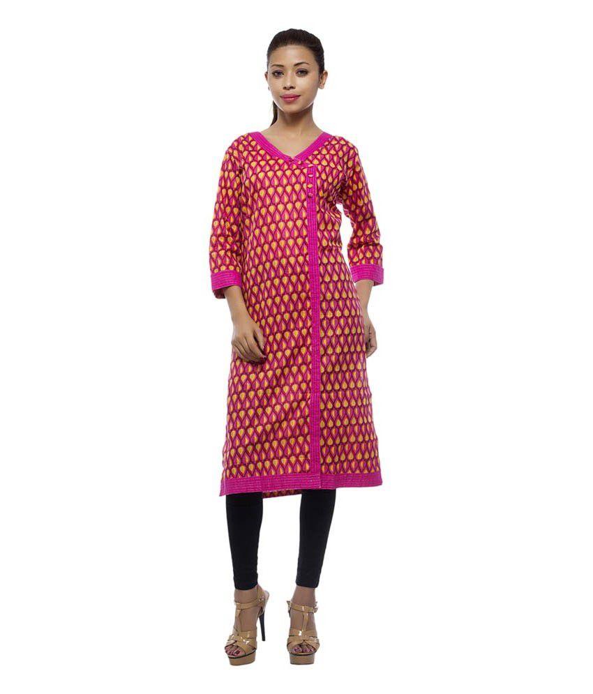 Reina Cotton Angrakha Style Knee Length Kurti