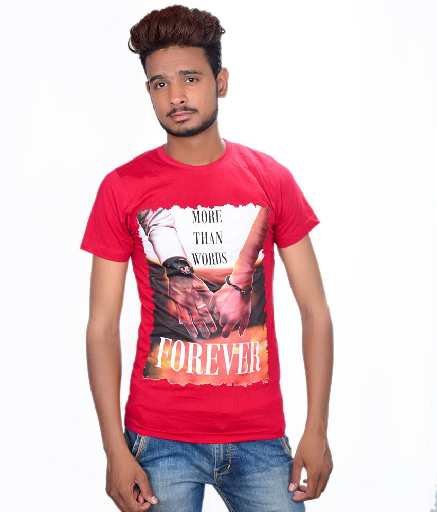 Takecare Red Cotton Blend Round Neck Printed T-shirt