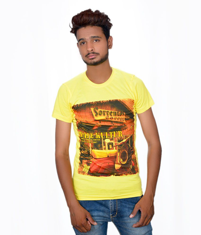 Takecare Yellow Cotton Blend Round Neck Printed T-shirt