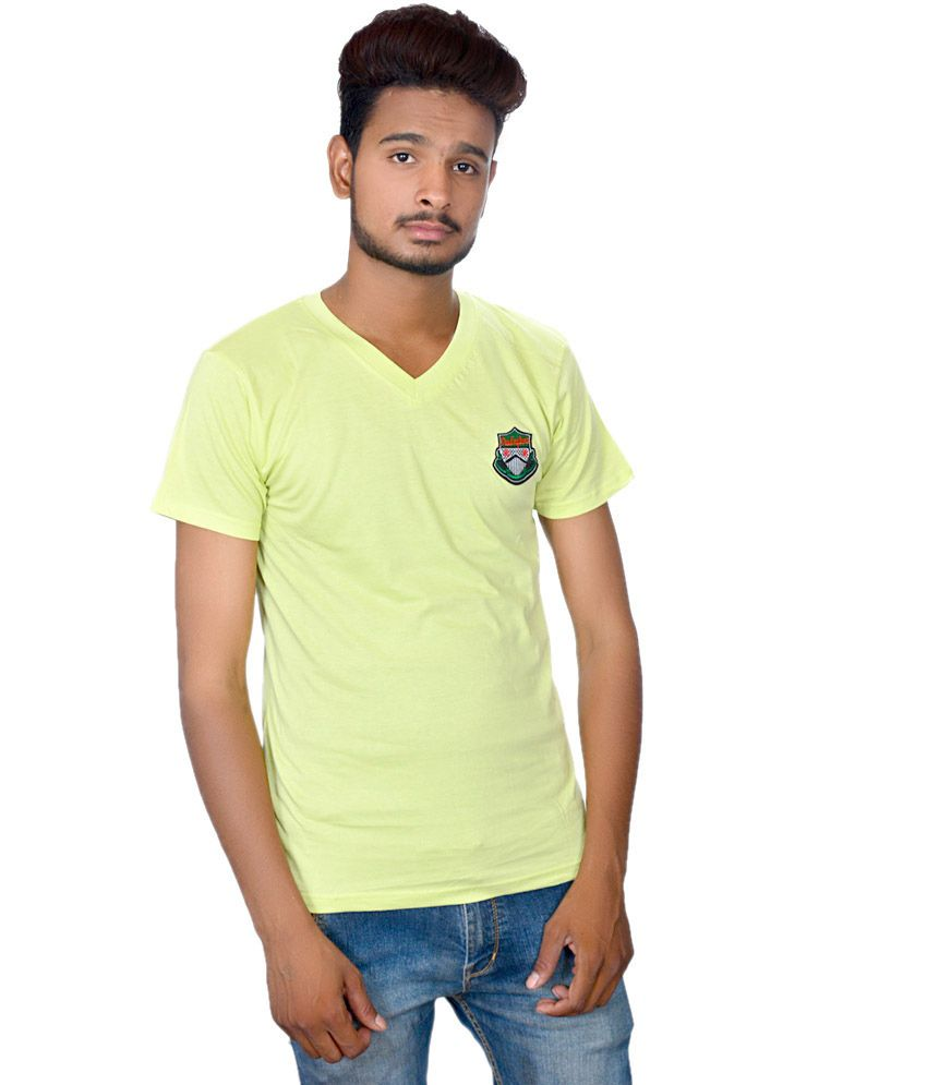 Takecare Yellow Cotton Blend V-neck Printed T-shirt