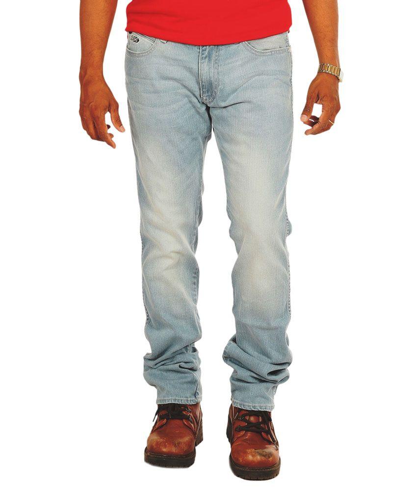 Wrangler Blue Cotton Blend Slim Fit Low Waist Jeans