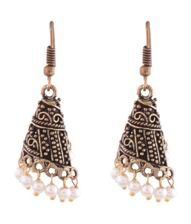 Ganapathy Gems Oxodised Brass Spiral Jhumki With Pearl Drops