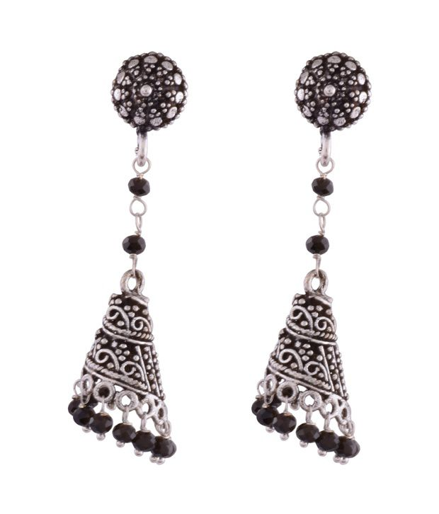 Ganapathy Gems Oxodised Silver Spiral Jhumki With Black Crystal Drops And Stud