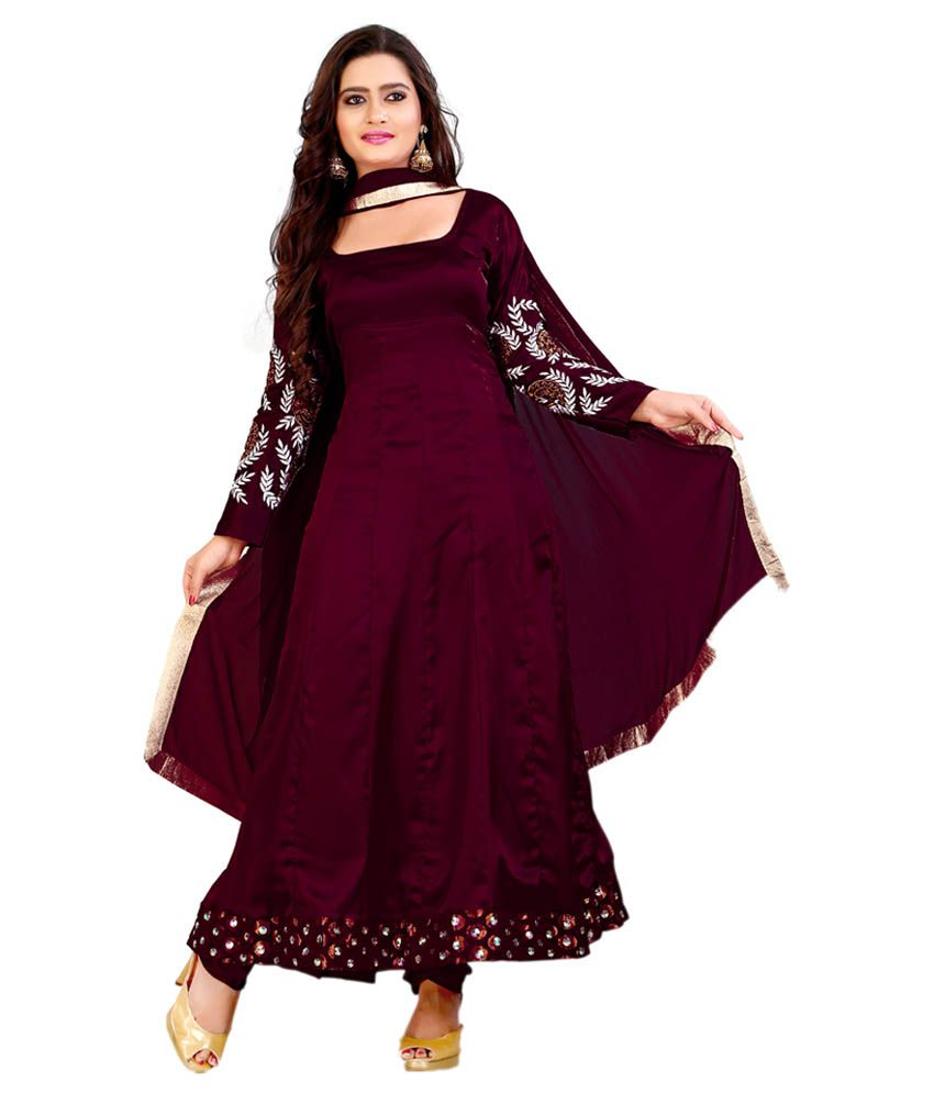 Indian wholesale clothing maroon faux georgette dress for Cheap clothing material