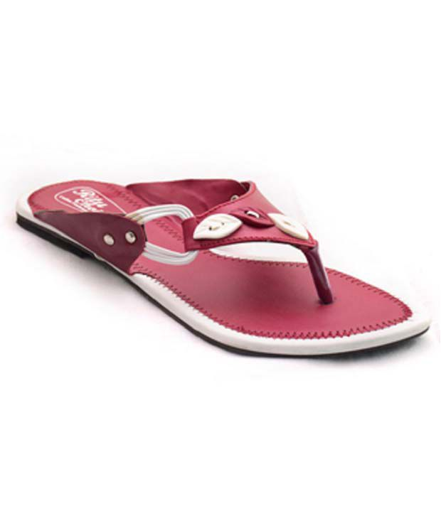 Naman Traders Red Synthetic Flat Slip-ons