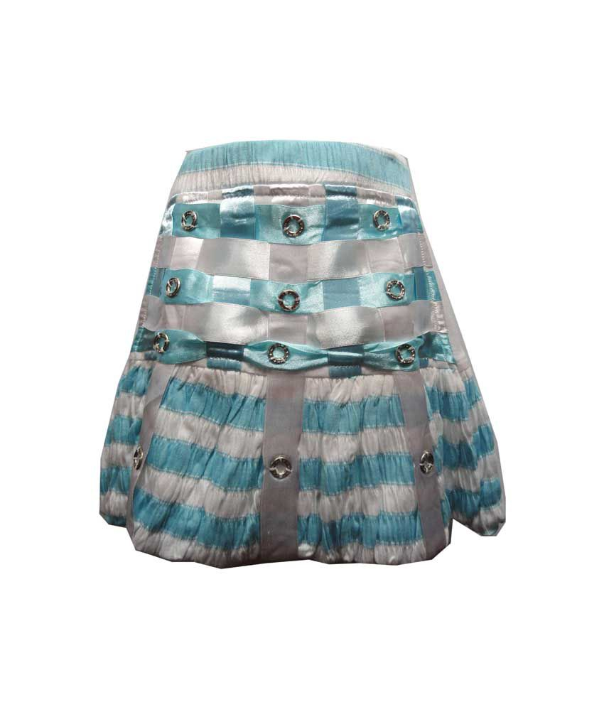 Threads Blue Synthetic Elastic Printed Skirts