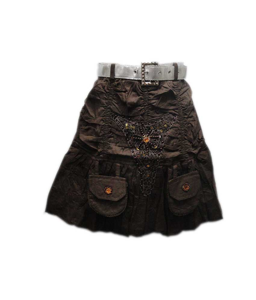 Threads Brown Cotton Elastic Printed Skirts