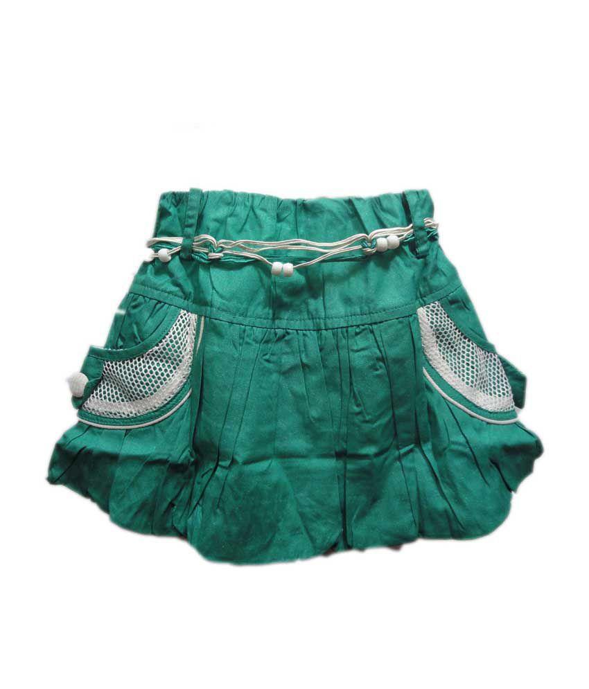 Threads Green Cotton Elastic Printed Skirts