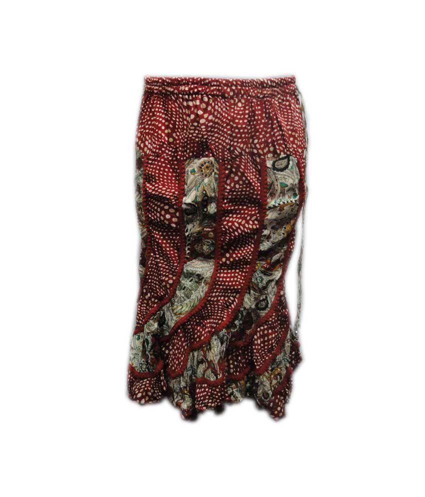 Threads Maroon Cotton Elastic Printed Skirts
