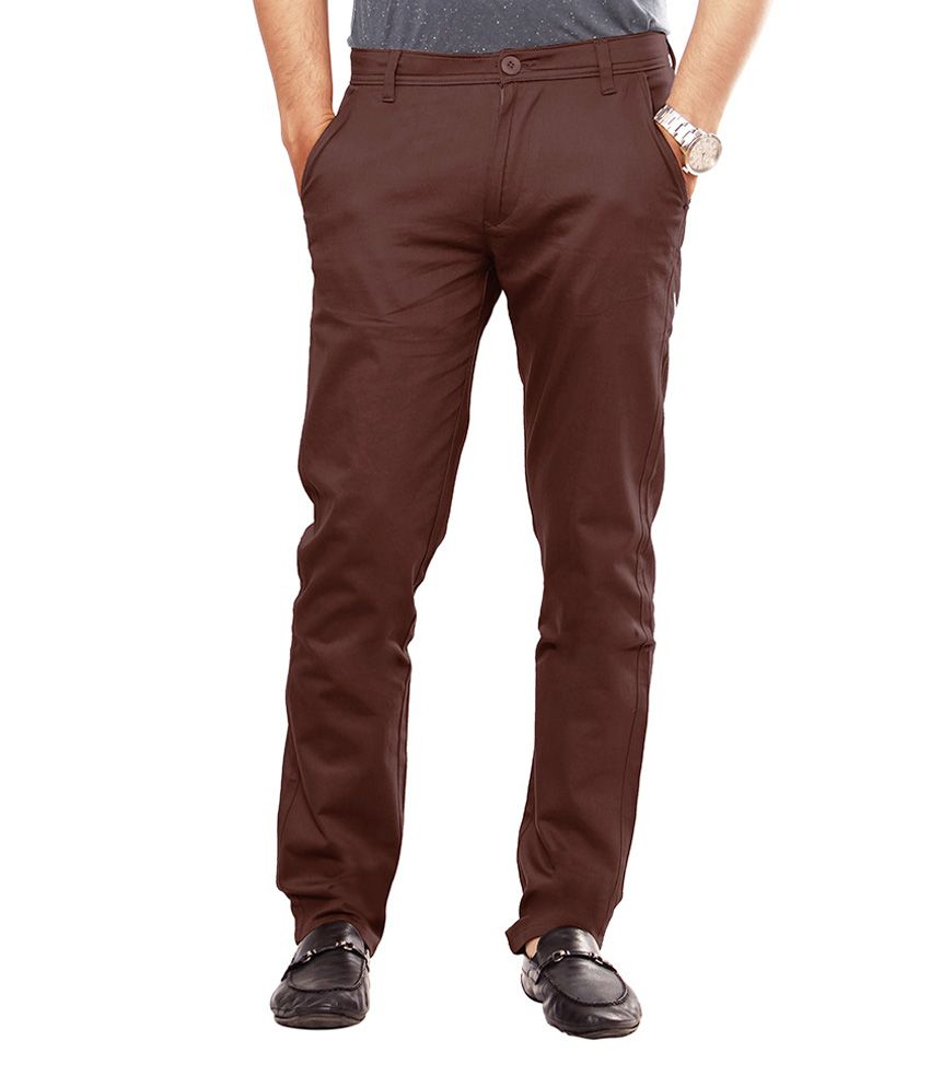 Uber Urban Brown Cotton Casual Chinos