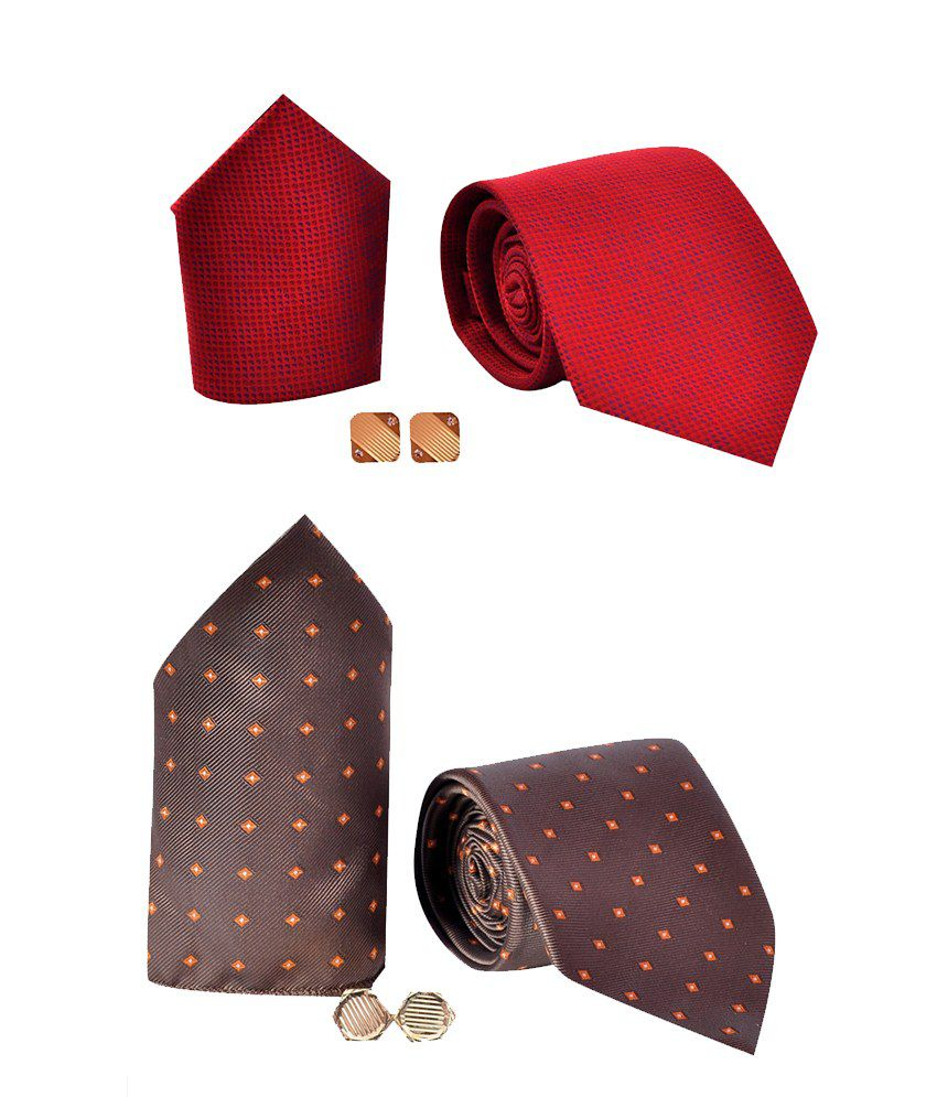 Elite Neckties Combo of A Tie , A Pair Of Metal Cufflinks And A Pocket Square