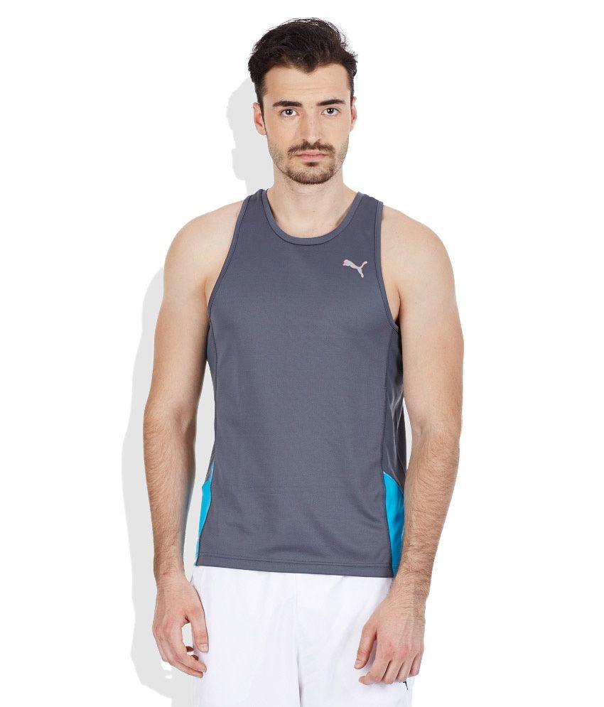 PUMA Gray Round Neck T-Shirt