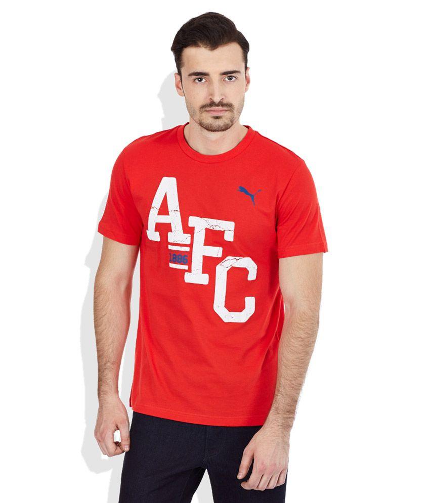 PUMA Red Round Neck T-Shirt